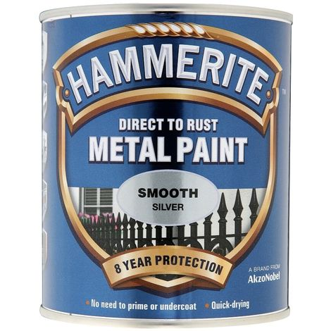 """main image of """"HAMMERITE Direct To Rust Metal Paint - Smooth Silver - 5 Litre - 5084898"""""""