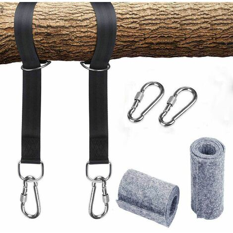 Hammock attachment swing suspension harness kit with 2 heavy duty carabiners and D-rings, holds up to 550 kg with storage bag, tree protection pad
