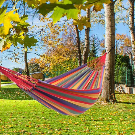 Hammock Chair Swing Colourful Striped Seat with with Stand Set Outdoor Garden