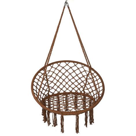 Hammock Chair Swing Hanging Rope Seat Net Chair 120*80cm coffee