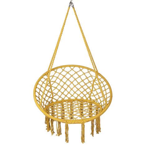 Hammock Chair Swing Hanging Rope Seat Net Chair 120*80cm yellow