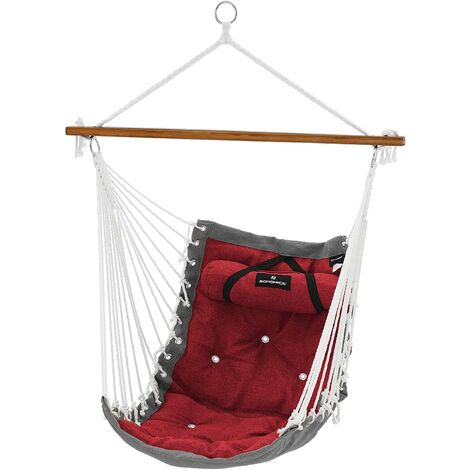Hammock Chair with Pillow, XL Padded Swing Chair with Bamboo Bar, 70 x 120 cm, Load Capacity 200 kg, Indoor and Outdoor, Red and Grey/Green and Beige