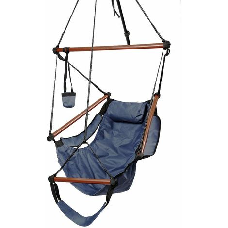 Hammock Hanging Chair W/Pillow & Drink Holder & Footrest Outdoor Swing Seat Blue