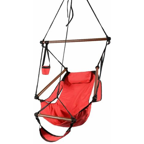 Hammock Hanging Chair W/Pillow & Drink Holder & Footrest Outdoor Swing Seat Red