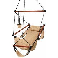Hammock Hanging Chair W/Pillow & Drink Holder & Footrest Outdoor Swing Seat UK