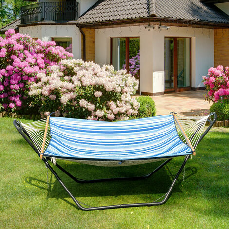"""main image of """"Hammock Stand Heavy Duty Steel Frame Swing Holder Rack with Hooks and Chains"""""""