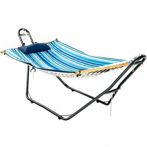 """main image of """"Hammock Sun Lounger Bed Stand Outdoor Patio Swing Steel Frame Hanging Hooks"""""""