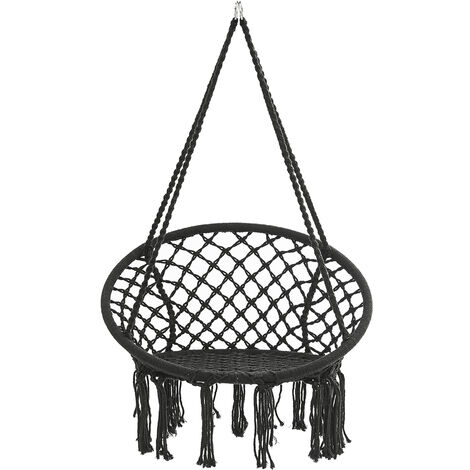 Hammock Swing Chair Hanging Cotton Rope Chair 80x120cm Black