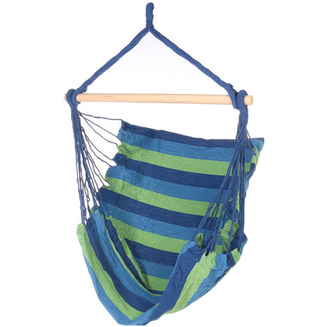 Hammock Swing Chair Hanging Rope Chair w/stick blue