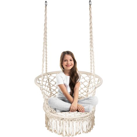 Hammock Swing Chair Hanging Rope Seat Net Chair Garden Macrame Swing