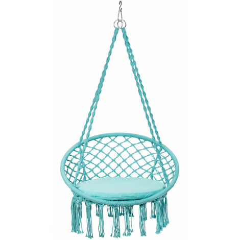 Hammock Swing Chair Macrame Hanging Tassels Rope Chair Seat Out&Indoor w/Cushion