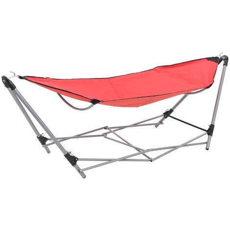 Hammock with Foldable Stand Red