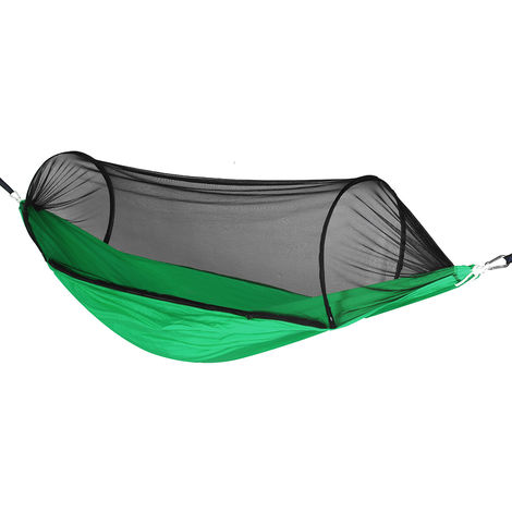 Hammock with mosquito net 270x140cm 400KG Travel Camping Outdoor Garden Hanging Bed Green
