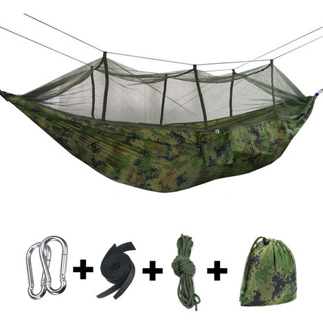 Hammock with Mosquito Net Ultralight Travel Camping Outdoor Garden Hanging Bed 260x140cm 300KG Green