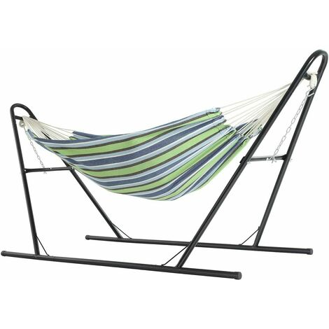 """main image of """"Hammock with Stand, 210 x 150 cmHammock,Double-Rail MetalFrame with Extended Feet, Load Capacity 250 kg, Garden, Outdoor,Black Stand andBlue and Green Striped HammockGHS11UJ - Black Stand andBlue and Green Striped Hammock"""""""