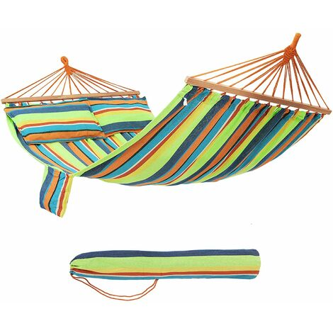Hammock with Two Pillows Portable 70% Cotton 2 Person 210 x 150cm Max. load 300kg