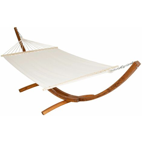 Hammock XXL with wooden frame for 2 persons - garden hammock, free standing hammock, double hammock - white - weiß