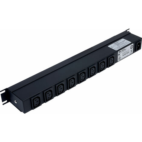 Hammond 1583H8E1BKDP 100-240 VAC / 10A IEC Double Pole Switched Rack PDU 8 Rear