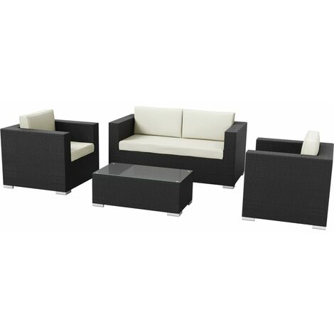 Hampstead 4 Piece Rattan Sofa Set - Black