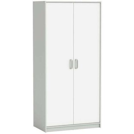 HAMPTON Armoire enfant - 2 portes - Décor Blanc/Gris - L 88 x P 50 x H 185,5 cm