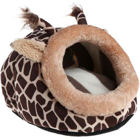 Hamster Bed House Hiver Chaud Sleep Nest Pad Cage Hamac pour Petit Animal Rat Hérisson Écureuil - Girafe2 L