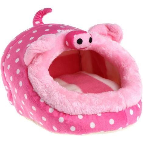 Hamster Bed House Hiver Hiver Chaud Sommeil Pad Cage Hamac pour Écureuil Hérisson Petit Rat Rat - Rose Pig3 L
