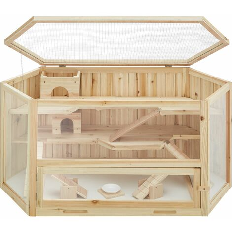 Hamster cage made of wood 115x60x58cm - gerbil cage, hamster house, wooden hamster cage - brown - braun