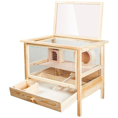 Hamster cage Rodent cage Mouse cage Small animal cage Wood Folding lid