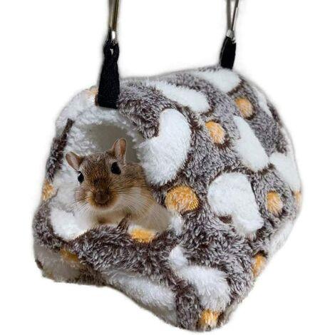 Hamster Hamac pour Cage, Lit Suspendu en Peluche pour Petits Animaux, Literie de Cochon d'Inde Nid, Cachette pour Écureuil Hérisson Gerbilles Hiver Chaud Doux Sommeil Mignon Maison(17 x 15 cm)