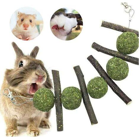Hamster Jouets à Mâcher Bâtons de Pomme, Pet Dents Broyage Jouets Petit Pet Hamster Lapin Apple Tree Branch Molar Grass Ball String (2 Pièces)