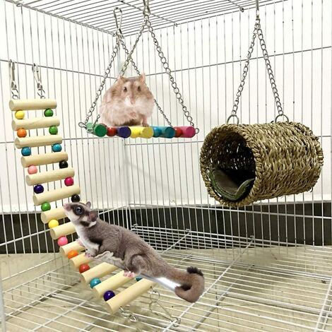 Hamster Toy, Lot of 3 Toys for Parrots or Dogs. Bridge Ladders, Swing Toy, Perched Hammock for Hamster, Squirrel, Ferret, Guinea Pig, Parrot Hamster Wood Accessory