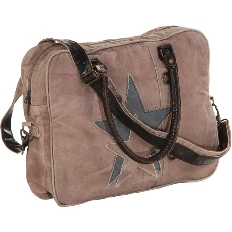 Hand Bag Brown 40x54 cm Canvas and Real Leather