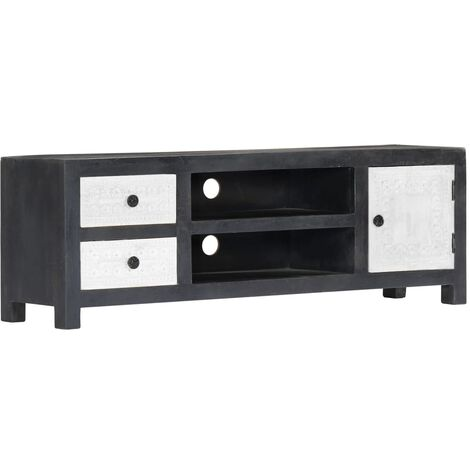 Hand Carved TV Cabinet Grey 120x30x40 cm Solid Mango Wood