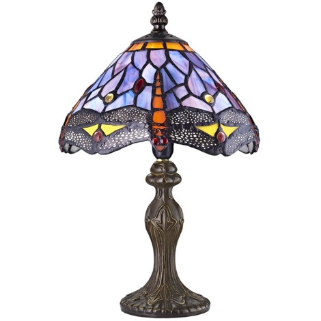 Hand Crafted Purple Stained Glass Dragonfly Tiffany Lamp by Happy Homewares