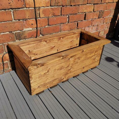 Hand Made 82cm x 40cm Rustic Wooden Medium Garden Trough / Flower Bed Planter