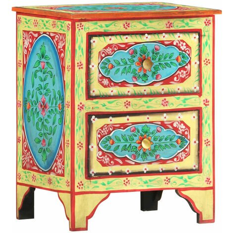 Hand Painted bedside Cabinet 40x30x50 cm Solid Mango Wood