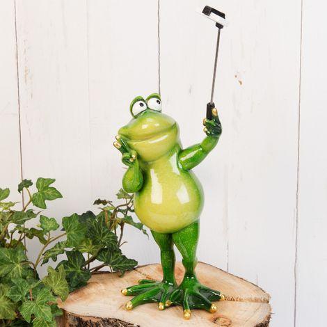 Hand Painted Resin Standing Frog Selfie Figurine