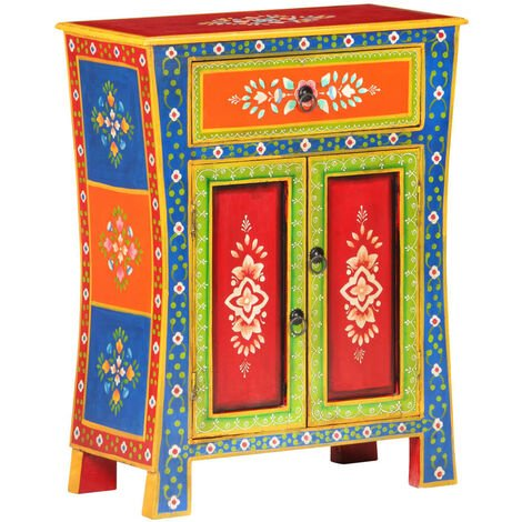 Hand Painted Sideboard 60x30x75 cm Solid Mango Wood