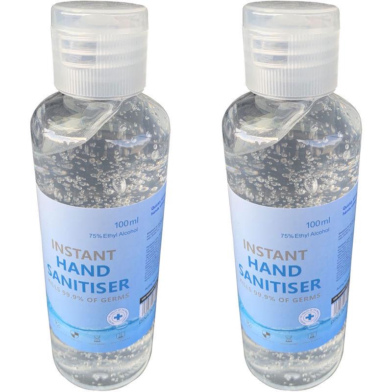 Image of Hand Sanitiser Gel Instant Liquid Sanitizer Odorless 75% Alcohol 99.99% Kills Germs 100ml (100ml (2 Pack)) (Clear)