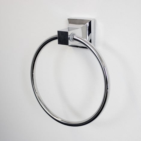 Hand Towel Ring With Square Plate - Wall Mounted Chrome Bathroom Accessories