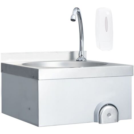 Hand Wash Sink with Faucet and Soap Dispenser Stainless Steel