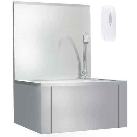 Hand Wash Sink with Faucet and Soap Dispenser Stainless Steel - Silver