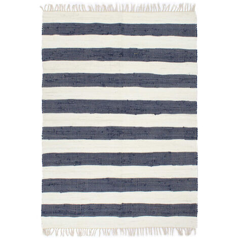 Hand-woven Chindi Rug Cotton 120x170 cm Blue and White