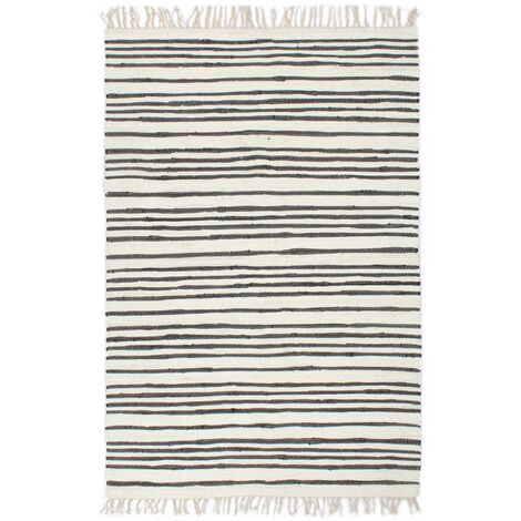 Hand-woven Chindi Rug Cotton 160x230 cm Anthracite and White