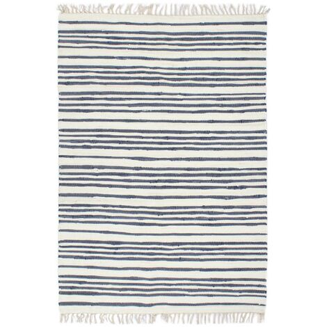 Hand-woven Chindi Rug Cotton 160x230 cm Blue and White