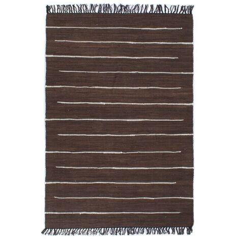 Hand-woven Chindi Rug Cotton 160x230 cm Brown