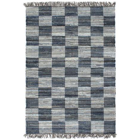 Hand-woven Chindi Rug Denim 120x170 cm Blue
