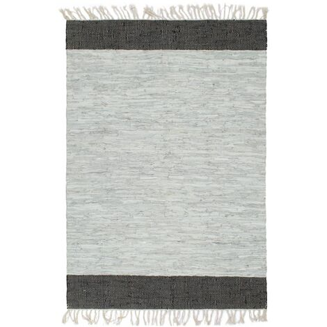 Hand-woven Chindi Rug Leather 190x280 cm Light Grey and Black
