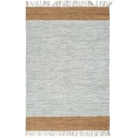 Hand-woven Chindi Rug Leather 190x280 cm Light Grey and Tan