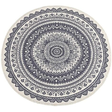"""main image of """"Hand-woven Cotton Round Rug Machine Washable Hand-woven Floor Mat with Tassel for Home Kitchen Living Room Bedroom diameter 120cm"""""""